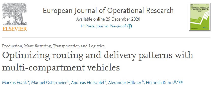 """New publication """"Optimizing routing and delivery patterns with multi-compartment vehicles"""" accepted at EJOR"""