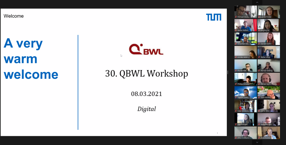30. QBWL (digital) Workshop hosted by the Chair of Supply and Value Chain Management